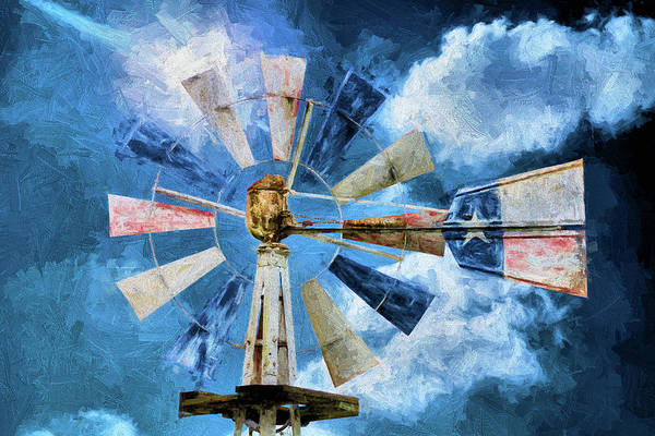 Photograph - The Texas Flag Windmill by JC Findley