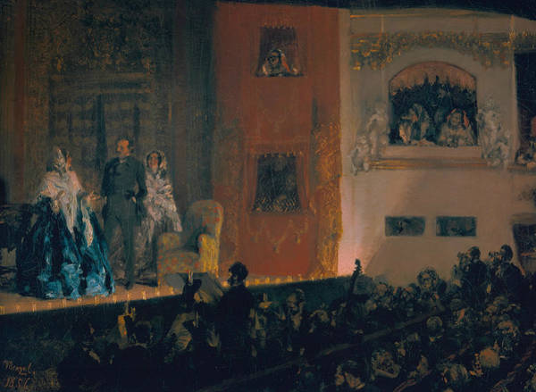 Painting - The Theatre Du Gymnase by Adolph Menzel