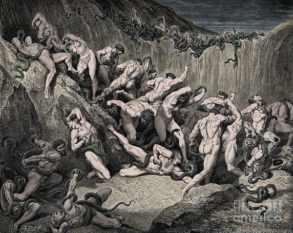 Wall Art - Drawing - The Thieves Tormented By Serpents by Gustave Dore