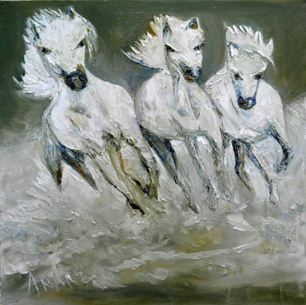 Wall Art - Painting - The Three In Snow by Anand Swaroop Manchiraju
