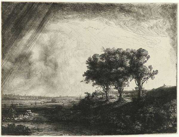 Wall Art - Painting - The Three Trees, Rembrandt Harmensz. Van Rijn, 1643 by Rembrandt Harmensz van