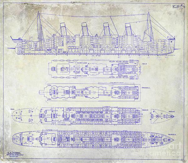 Wall Art - Photograph - The Titanic Ship Blueprint by Jon Neidert