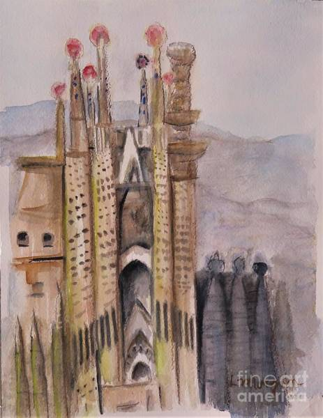 Painting - The Towers Of Sagrada Familia by Laurie Morgan