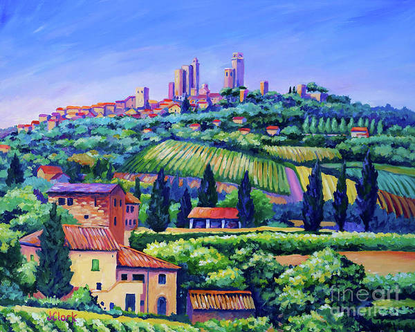 Tuscany Landscape Wall Art - Painting - The Towers Of San Gimignano by John Clark