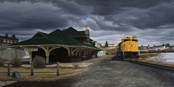 Train Station Painting - The Town That Silver Built by Marianne Vander Dussen