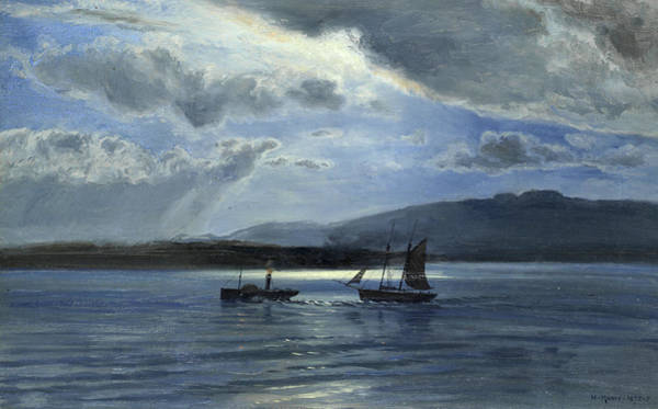 Ocean Scape Painting - The Traeth Maur, Portmadee, Moonlight - Twilight by Henry Moore