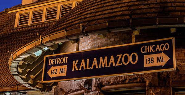 The Train Station Sign In Kalamazoo Art Print