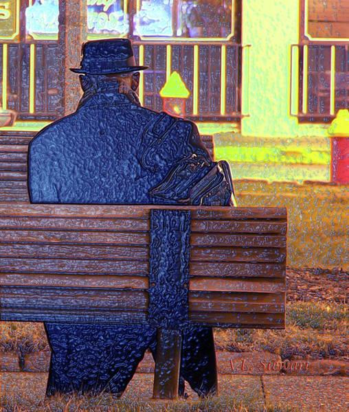 Park Bench Digital Art - The Traveler by Albert Lenora Stewart