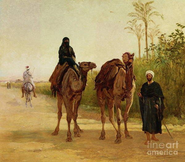 Camel Painting - The Travellers, 1874  by Heywood Hardy