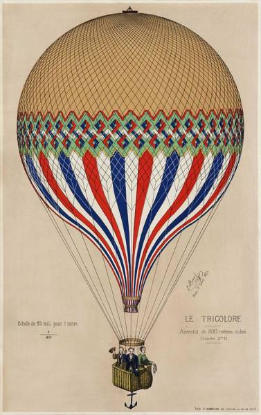 Wall Art - Painting - The Tricolor With A French Flag Themed Balloon Ascension In Paris, June 6th 1874 by MotionAge Designs