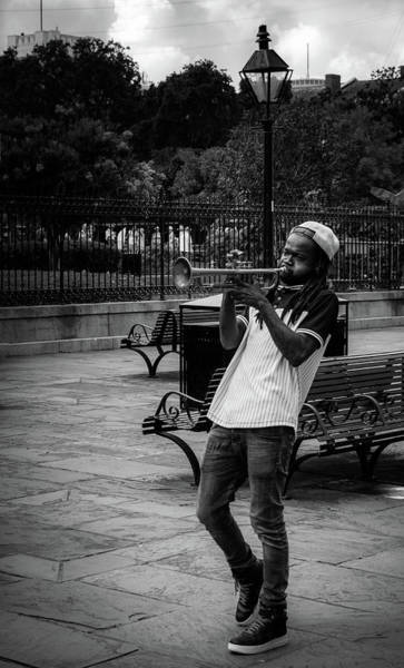 Wall Art - Photograph - The Trumpet Player In Black And White by Greg Mimbs