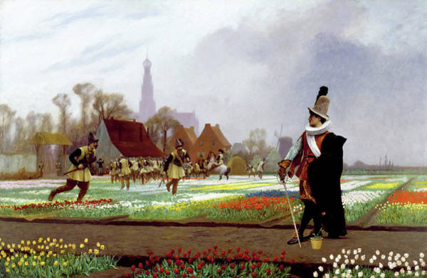 Dutch Tulip Painting - The Tulip Folly - Digital Remastered Edition by Jean-Leon Gerome