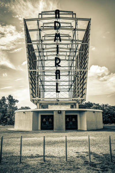 Photograph - The Tulsa Admiral Twin Drive-in - Sepia by Gregory Ballos