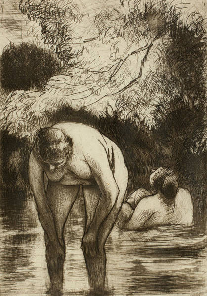Wall Art - Relief - The Two Bathers by Camille Pissarro