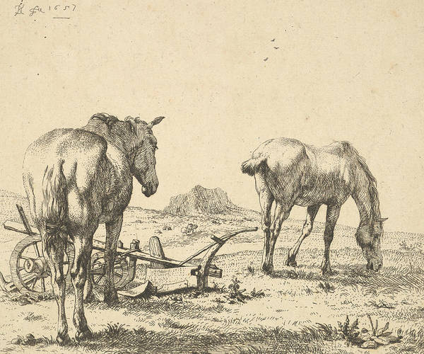 Relief - The Two Horses Near The Plow by Karel Dujardin