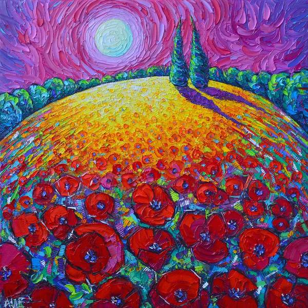 Wall Art - Painting - The Two Of Us Poppies Roundscape Textural Impasto Knife Oil Painting Night Moon Ana Maria Edulescu by Ana Maria Edulescu