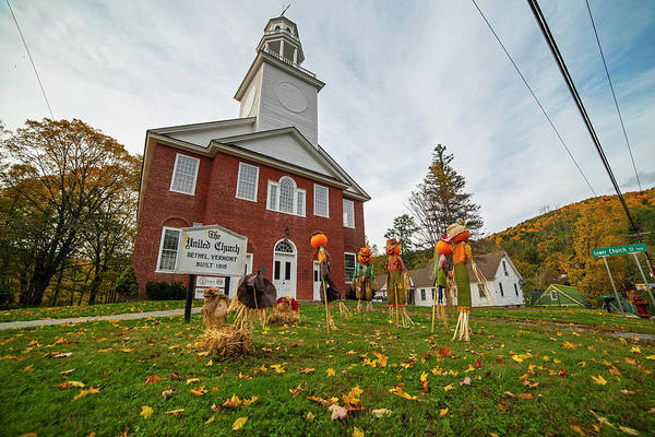 Photograph - The United Church Halloween Scarecrows Bethel Vermont Vt Autumn Fall Colors by Toby McGuire