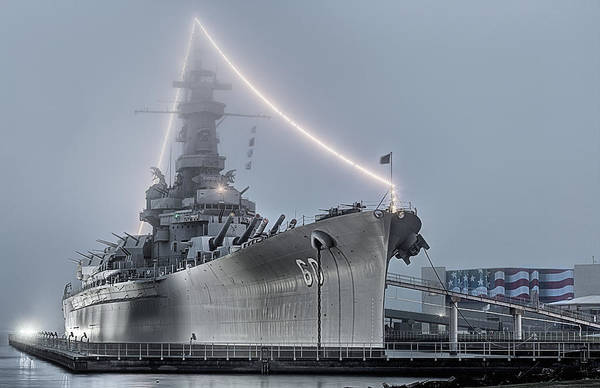 Wall Art - Photograph - The Uss Alabama Through The Fog by JC Findley
