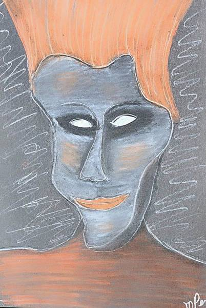 Drawing - The Usual Mask I Wear by Mario MJ Perron