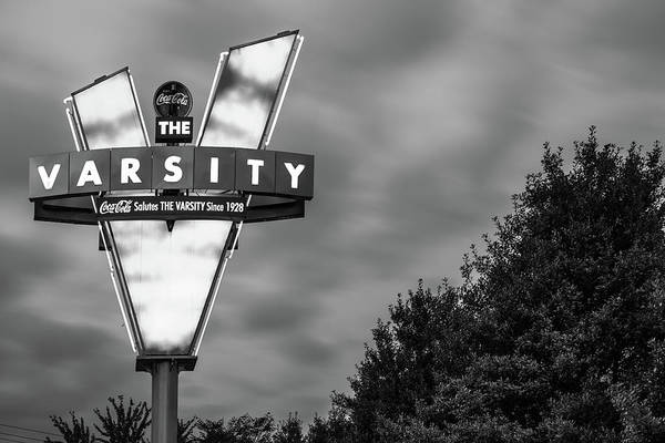Photograph - The Varsity Neon At Dusk - Atlanta Georgia Monochrome by Gregory Ballos