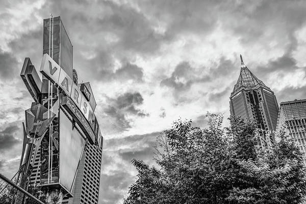 Photograph - The Varsity Neon Under Morning Clouds - Atlanta Georgia Monochrome by Gregory Ballos