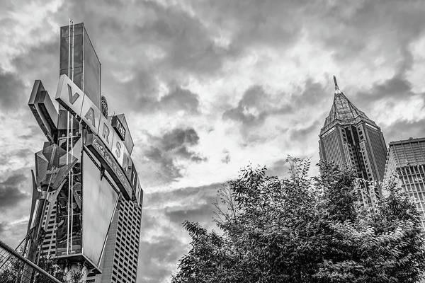 Photograph - The Varsity Neon Under Morning Clouds - Atlanta Georgia Monochrome by Gregory Ballos