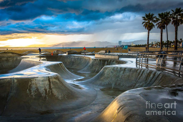 Wall Art - Photograph - The Venice Skate Park At Sunset, In by Jon Bilous