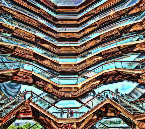 Wall Art - Photograph - The Vessel - Hudson Yards # 10 - N Y C - Photopainting by Allen Beatty
