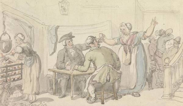 Drawing - The Vicar Of Wakefield - The Scold, With News Of Olivia by Thomas Rowlandson