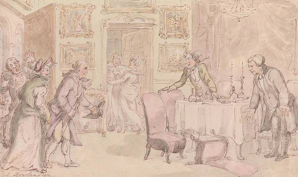 Drawing - The Vicar Of Wakefield - The Surprise by Thomas Rowlandson