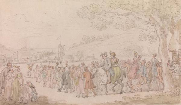 Drawing - The Vicar Of Wakefield - The Welcome by Thomas Rowlandson