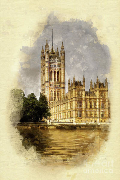 Palace Of Westminster Wall Art - Painting - The Victoria Tower, London by John Edwards