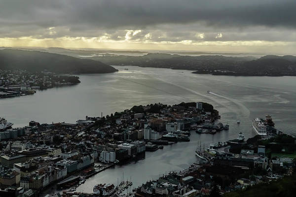 Photograph - The View From Mount Floyen In Bergen, Norway  by Sven Brogren