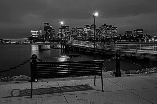 Photograph - The View From The East Boston Waterfront Boston Ma Skyline Black And White by Toby McGuire