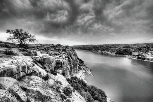 Photograph - The View From The Pecos River Bridge B W by JC Findley
