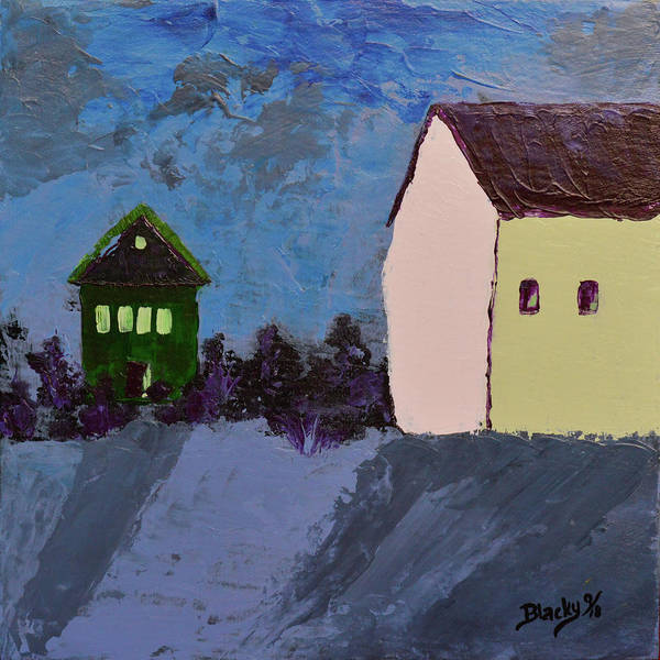 Wall Art - Painting - The Village At Night by Donna Blackhall