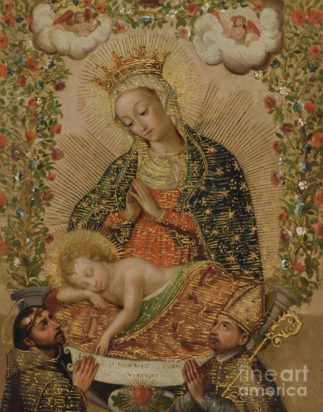Wall Art - Painting - The Virgin Adoring The Christ Child With Two Saints, 18th Century  by Cuzco School
