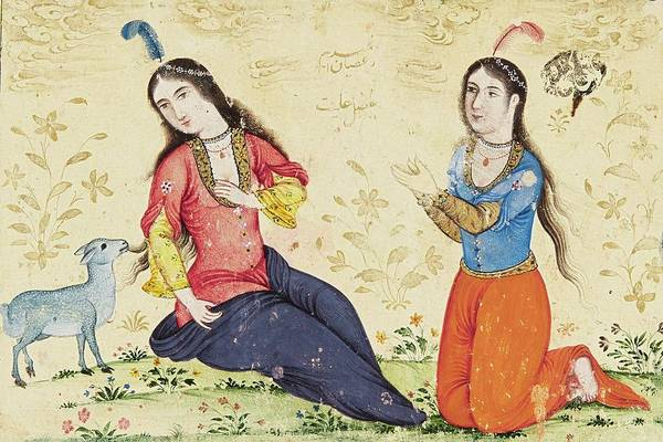 Wall Art - Painting - The Virgin Mary, St Anne And A Lamb On A Grass Bank, Persia, Safavid, Second Half 17th Early 18th Ce by Celestial Images