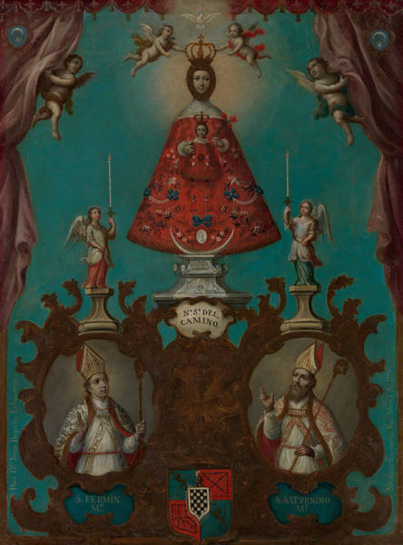 Painting - The Virgin Of El Camino With St. Fermin And St. Saturnino by Nicolas Enriquez