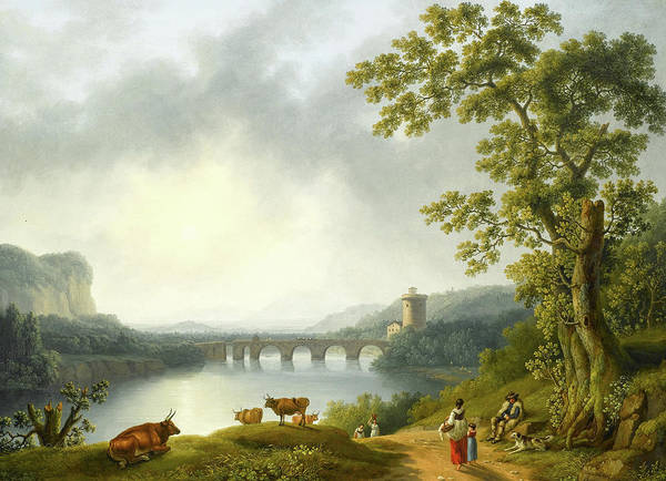 Wall Art - Painting - The Volturno With The Ponte Margherita, Near Caserta, With A Herdsman Resting And Peasants On A Path by Jacob Philipp Hackert