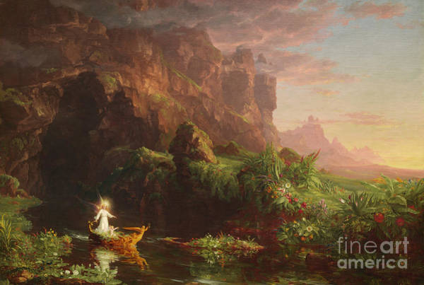 Wall Art - Painting - The Voyage Of Life Childhood, 1842 by Thomas Cole