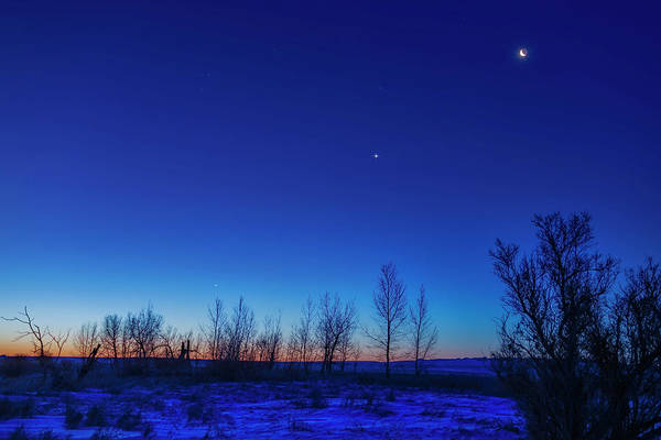 Photograph - The Waning Crescent Moon Above Venus by Alan Dyer