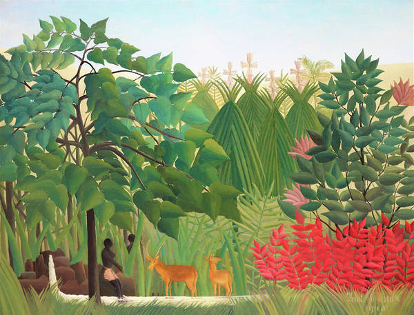 Aborigine Painting - The Waterfall - Digital Remastered Edition by Henri Rousseau