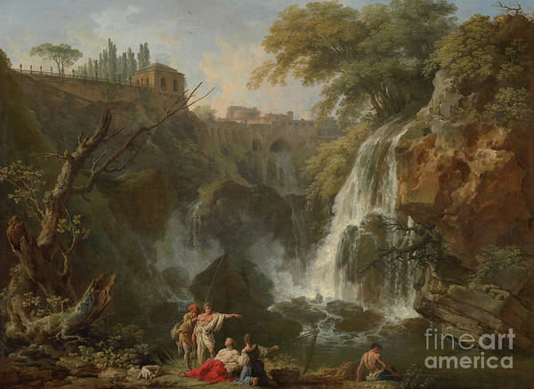 Wall Art - Painting - The Waterfalls At Tivoli, With The Villa Of Maecenas by Claude Joseph Vernet