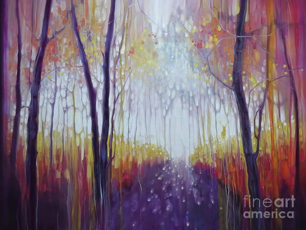 Ancient Woodland Painting - The Way Out - A Large Woodland Oil Painting With Golden Stag by Gill Bustamante