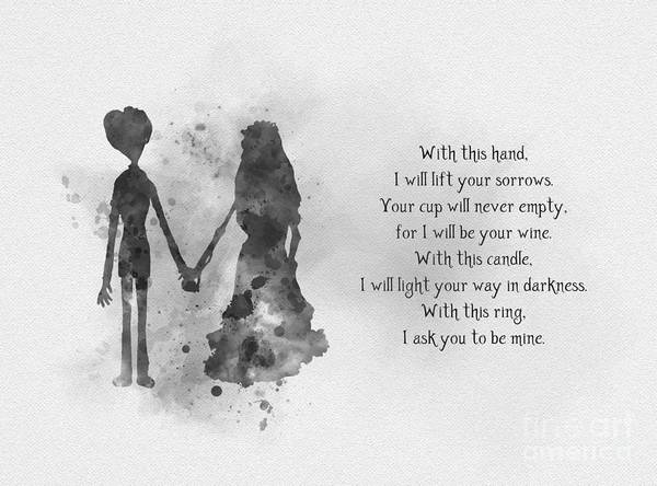 Tim Burton Wall Art - Mixed Media - The Wedding Vows Black And White by My Inspiration
