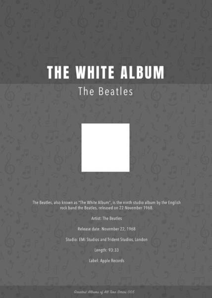 Wall Art - Mixed Media - The White Album The Beatles Greatest Albums Of All Time Minimalist Series by Design Turnpike