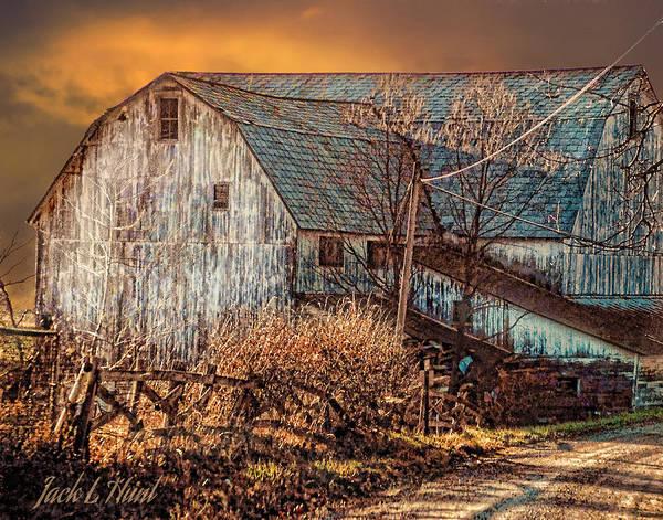 Dairy Barn Digital Art - The White Barns Sunset by Jack Hunt