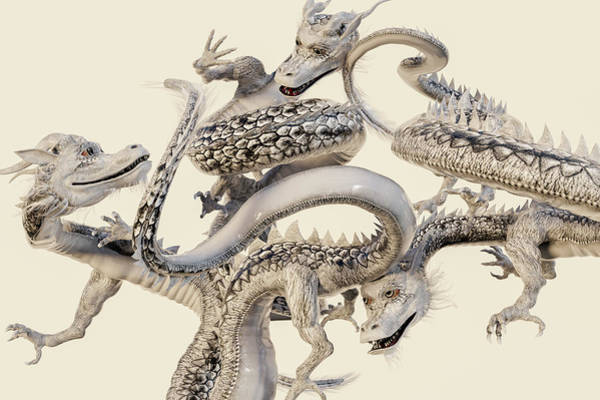 Wall Art - Digital Art - The White Dragons by Betsy Knapp