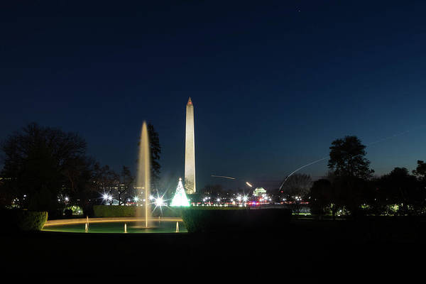 Wall Art - Painting - The White House At Night With Christmas Lighting 9 by Celestial Images